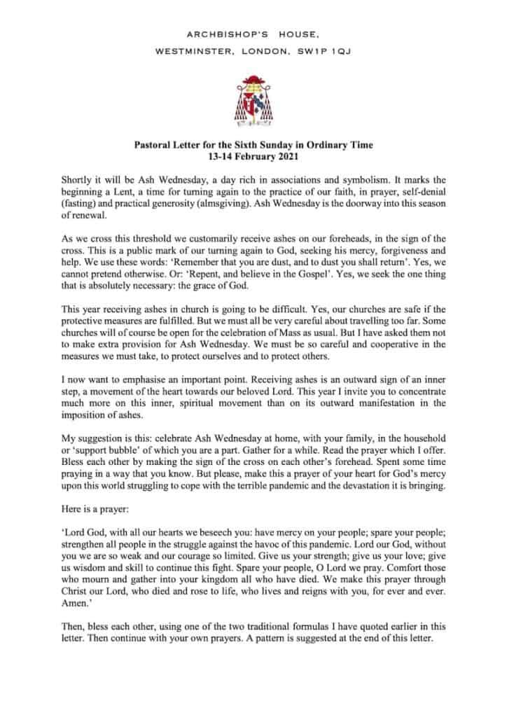 210214 Pastoral Letter Ash Wednesday