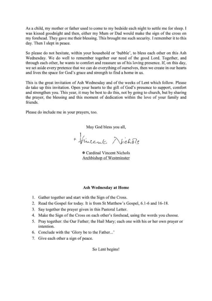 210214 Pastoral Letter Ash Wednesday2